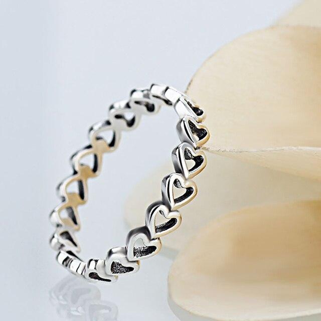 סיטונאי אותנטי מצופה כסף לנצח אהבת לב מותג אצבע טבעת לאישה חתונה תכשיטים אביזרי מתנה