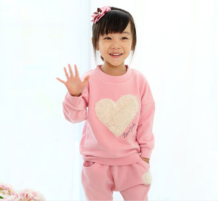 NEW kids girls clothes sets,baby girl long sleeve + pant set Children love sports kids clothing sets