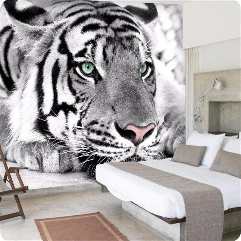 Beibehang papel pintado tigre blanco y negro animal for Murales salon modernos