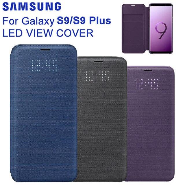 원래 삼성 LED 커버 보호 커버 전화 케이스 삼성 갤럭시 S9 G9600 S9 + 플러스 G9650 수면 기능 카드 포켓
