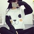 Mulheres Outono Inverno Camisola Hoodies Tops de Algodão Lã Quente Panda Patchwork Harajuku Casaco Com Capuz para As Mulheres Sudaderas mujer 2017 H1