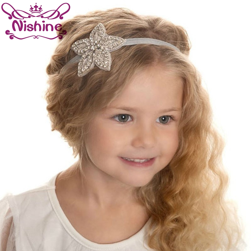 Nishine Girls Rhinestone Flower Star Headband Kids Girls Wedding Party Hair Accessories Princess Headwear Photography Props