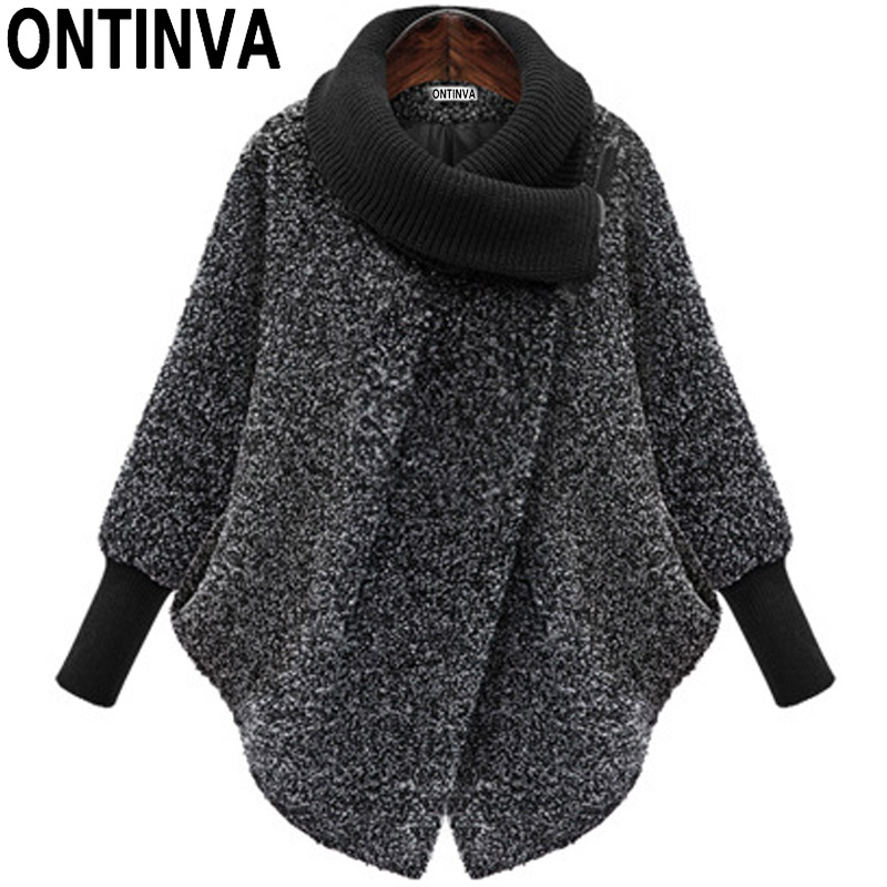 Gary Bat Sleeved Woolen Coat Scarf Collar Jackets Women Winter Fashion Outerwear Thicker Loose Coat With Zipper Mujer Casual New-in Jackets from Women's Clothing    1