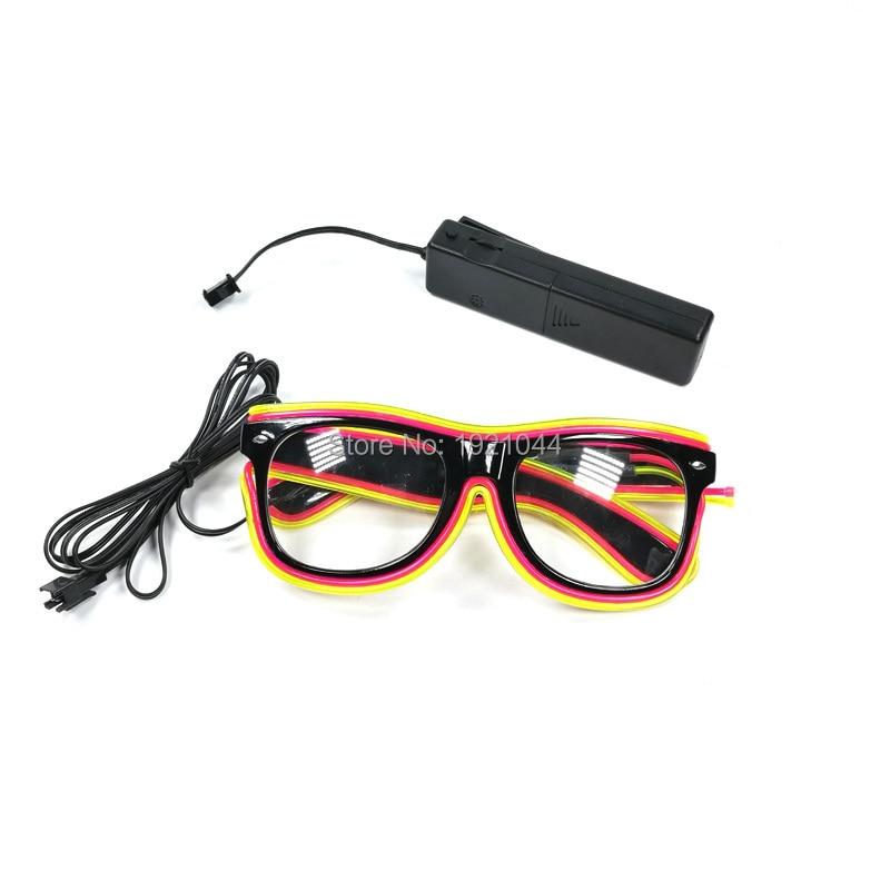 2017 Cheap Double Color EL Wire Glasses 1pieces LED Strip light EL Glasses with Sound activated Inverter Glow Party Favors