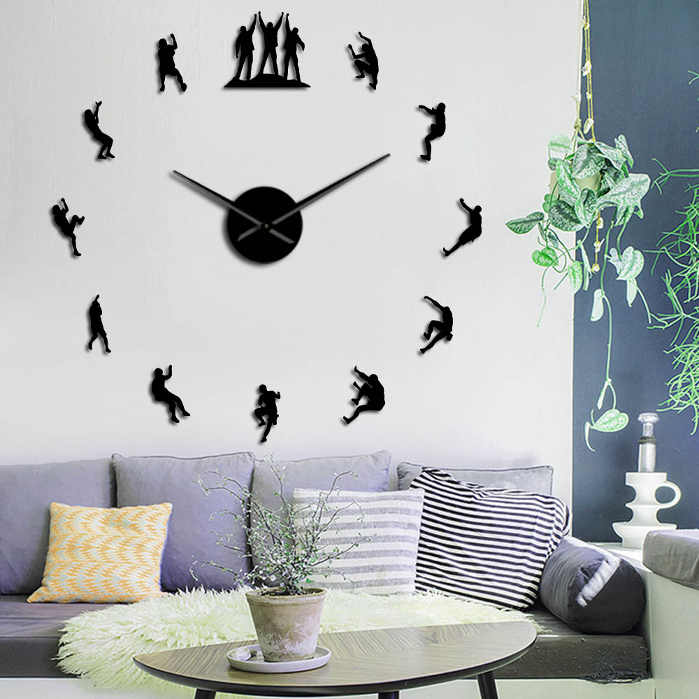 Climbers 3D DIY Wall Clock Frameless Large Wall Clock Apartment Decorations Mute Mirror Wall Stickers Climbing Lovers Wall Watch
