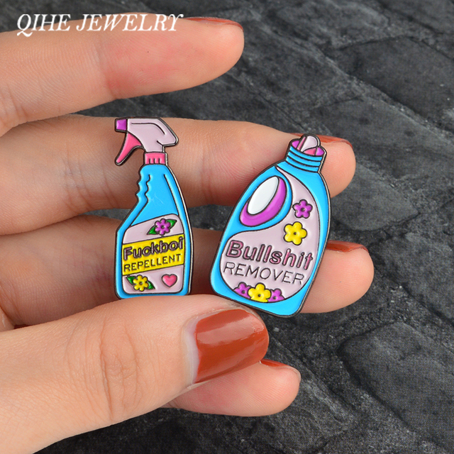 QIHE SIERADEN Pins en broches Bullshit remover, XX repellent grappige schoonmaken pin Badge Emaille pins Broche Revers pin