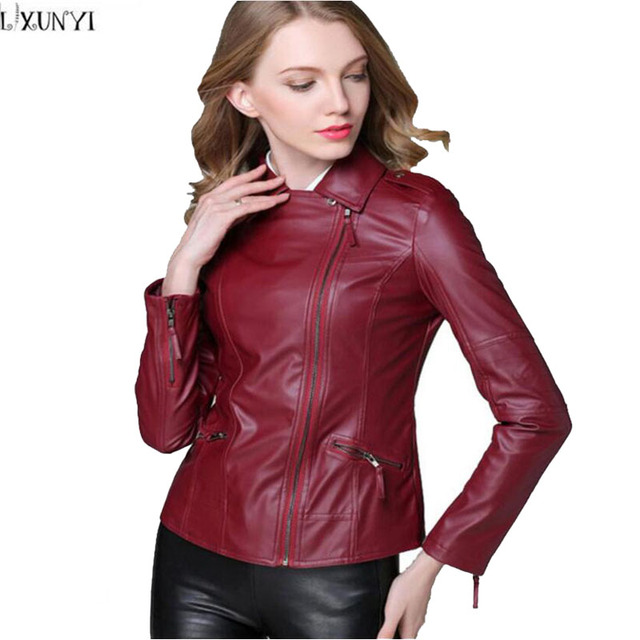 3619e7204a842 leather jacket Woman Coat New Arrival 2017 Womens leather jacket Slim Black  Wine Red 4XL Plus Size Clothing Motorcycle jacket-in Leather   Suede from  ...