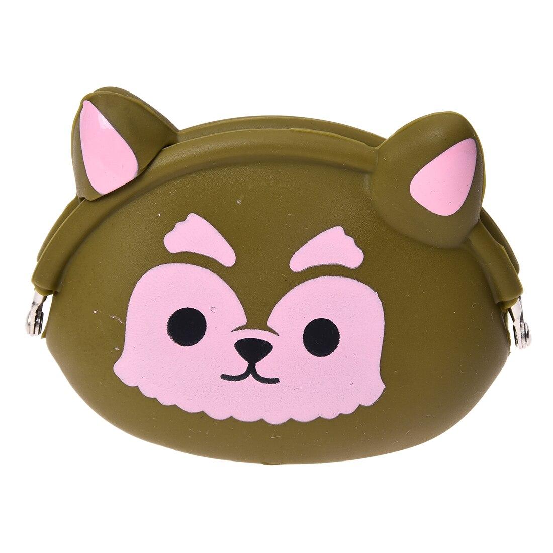 5pcs of Women Girls Wallet Kawaii Cute Cartoon Animal Silicone Jelly Coin Bag Purse Kids Gift Green dogs