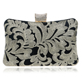 Embroidery Diamonds Women Messenger Bags Vintage Handmade Golden Silver Color Day Clutches Evening Bags For Wedding/Party