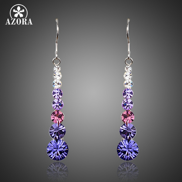 AZORA Multicolour Round Stellux österrikiska Crystal Wedding Drop Earrings för kvinnor TE0260