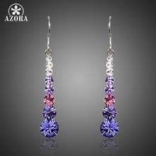 AZORA Multicolour Round Stellux Austrian Crystal Wedding Drop Earrings For Women TE0260