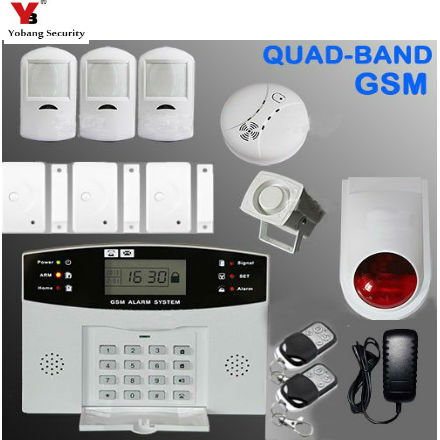 YobangSecurity Keyboard GSM SMS Home Burglar Security Alarm System Voice Prompt Wired GSM Alarm System with Fire Smoke Sensor