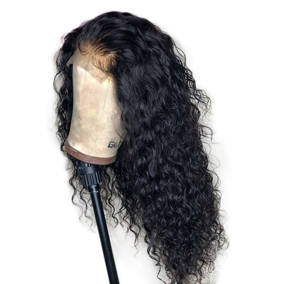 Alibele Hair brazilian deep curly lace wig 150 Density Pre plucked lace front wigs 13x4 remy
