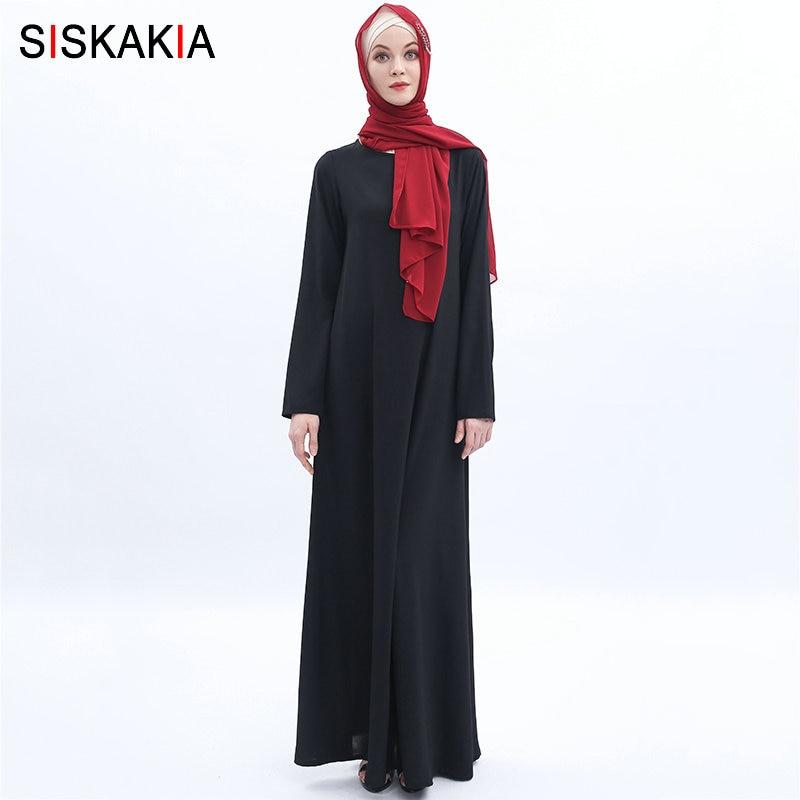 Siskakia High Grade Muslim Clothing Arabian Women's Basic Long Dress Brief Solid O Neck Long Sleeve Islamic Clothes Summer 2019
