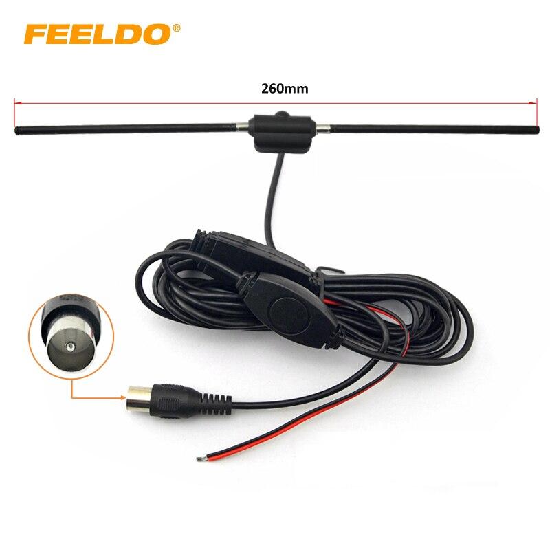 FEELDO 1 Set Auto Spina IEC Antenna Attiva Con Amplificatore Incorporato Per La TV Digitale Antenna per Auto # AM911