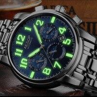 Luxury green light watch men Sapphire glass stainless steel Date Automatic machine watch blue dial relogio masculino