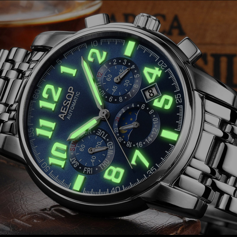 Luxury green light watch men Sapphire glass stainless steel Date Automatic machine watch blue dial relogio masculino