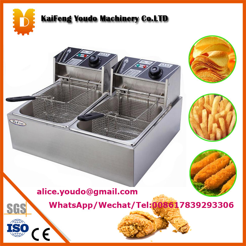 UDDZL-12 stainless double tank deep fryer/mini fryer machine salter air fryer home high capacity multifunction no smoke chicken wings fries machine intelligent electric fryer