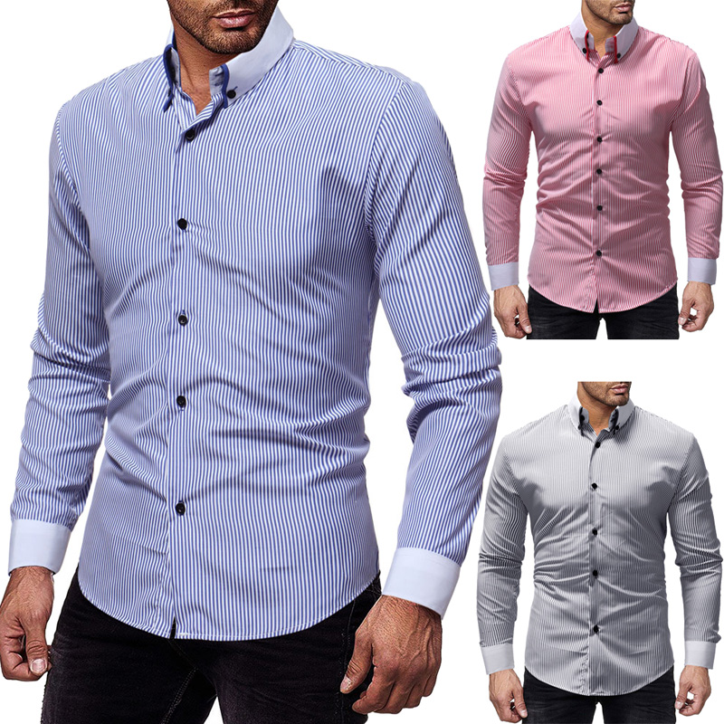 New Mens Button Down Shirts,Long Sleeve Solid Regular Fit Fashion Comfortable Beach Party Working Shirt