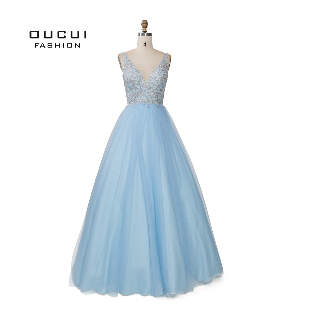Sky Blue White Appliques Flowers   Prom     Dresses   2019 Sexy V Neck Elegant Women   Dress   Wedding Evening Vestido De Novia OL103448