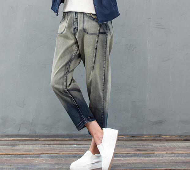 Cotton jeans denim casual harem pants women high waist capris spring autumn new fashion plus size trousers female qyx0804