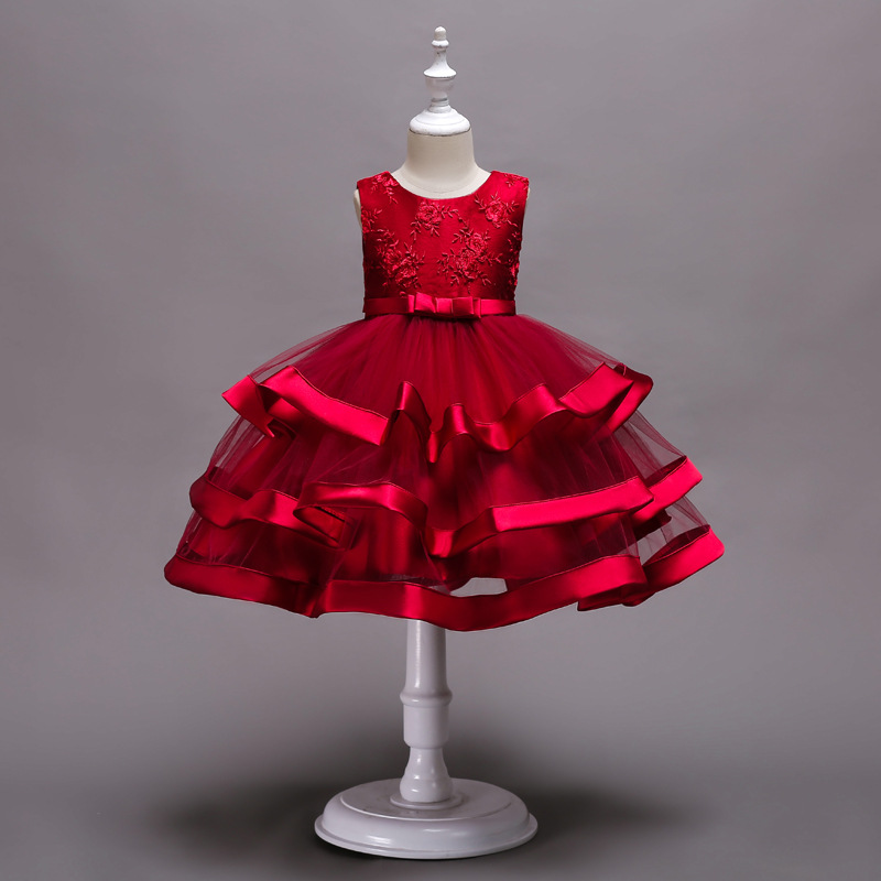 2019 New Fashion Sleeveless European And American Flower Girl With Multi-layered Pettiskirt Embroidered Show Party Dress2019 New Fashion Sleeveless European And American Flower Girl With Multi-layered Pettiskirt Embroidered Show Party Dress
