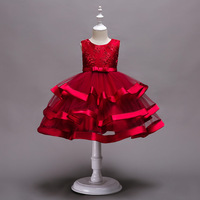 2019 New Fashion Sleeveless European And American Flower Girl With Multi layered Pettiskirt Embroidered Show Party Dress