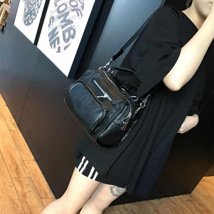 Женская сумка-мессенджер из натуральной коровьей кожи, черная, на одно плечо