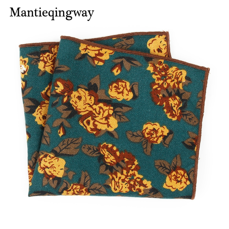 Mantieqingway Floral Cotton 24*24cm Print Men's Clothing Accessories Pocket Handkerchief For Suits Pocket Square Hanky Towel