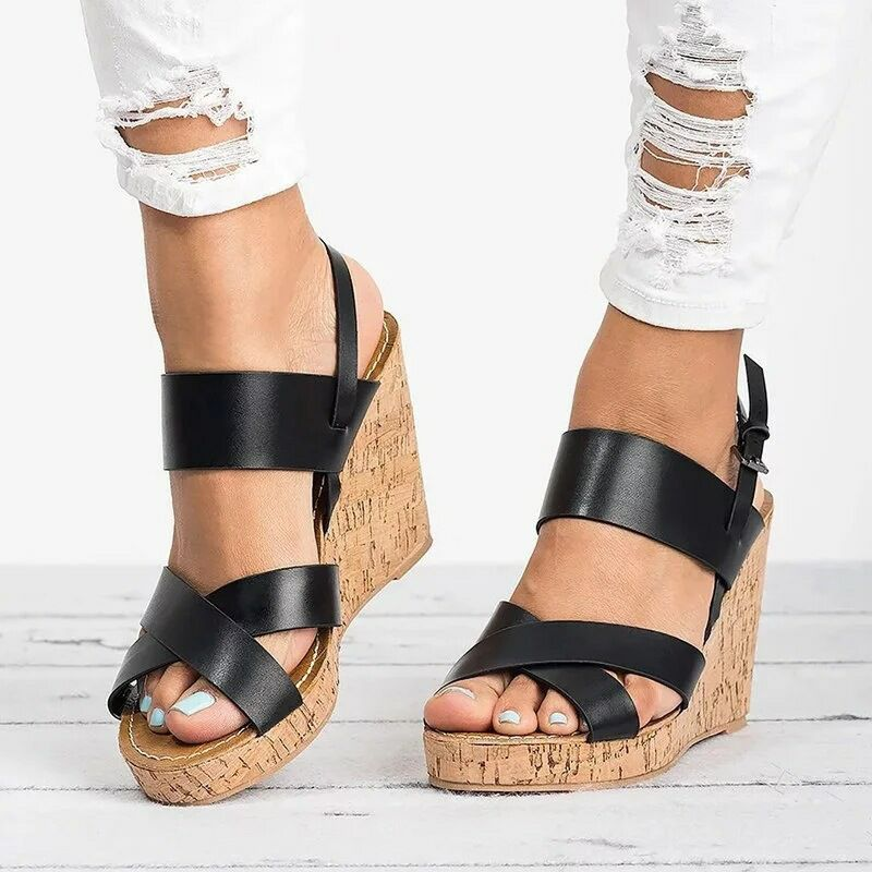 Gladiator Sandals Platform Women Wedges Shoes Female Summer Ankle Strap Trifle Open Toe High Black Flip Flops Slipper Size 35-43 meotina shoes women sandals summer peep toe ankle strap platform wedges female bordered white blue beige shoes size 34 39fashion