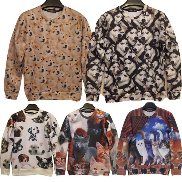 2015 winter fashion men brand hoodies 3d element animal dog/cat hipster crewneck sweatshirt funny clothes swag Hoody sudaderas