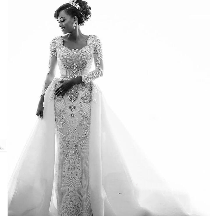 Gorgeous Long Sleeve Crystal 2019 Wedding Dresses Mermaid Overskirt Lace Bridal Gowns (4)