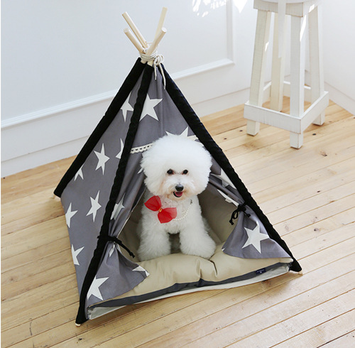 2018-creative-dog-tent-grey-star-pattern-tent-and-mat-dog-bed-pet-house-tent-wood-kennel-puppy-love-dog-cat-bed-house-with-mat