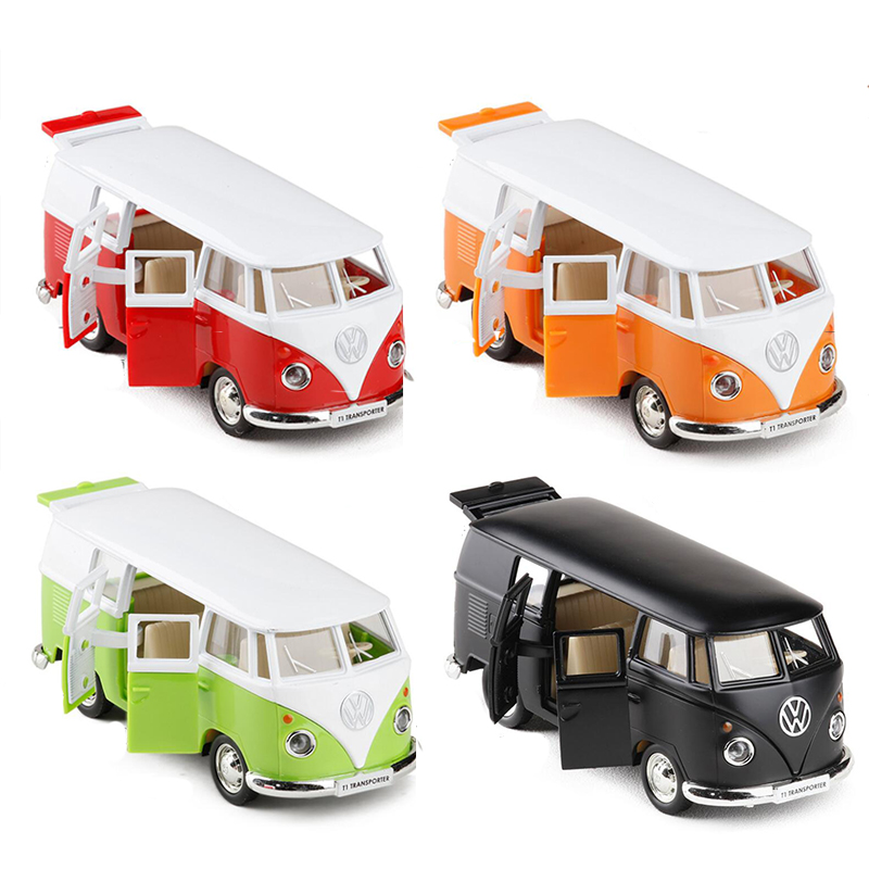 1 pz 1:36 Bilancia Diecast Modello di Auto/Auto Volkswagen T1 Bus di Trasporto Tirare Indietro Giocattolo Per Il Regalo dei bambini di Raccolta educativi V001