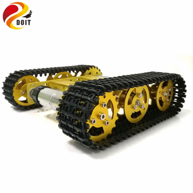 Mini T100 RC Metal Robot Tank Chassis  Crawler Caterpiller Tracked Vehicle with Plastic Track 2 Motors for Robot Platform RC