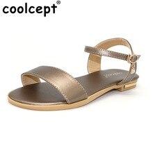 CooLcept обувь Женские сандалии с ремешком на лодыжке сладкий цветок Стилет сандалии на плоской подошве женские босоножки женская обувь Размеры 33-43 PA00773