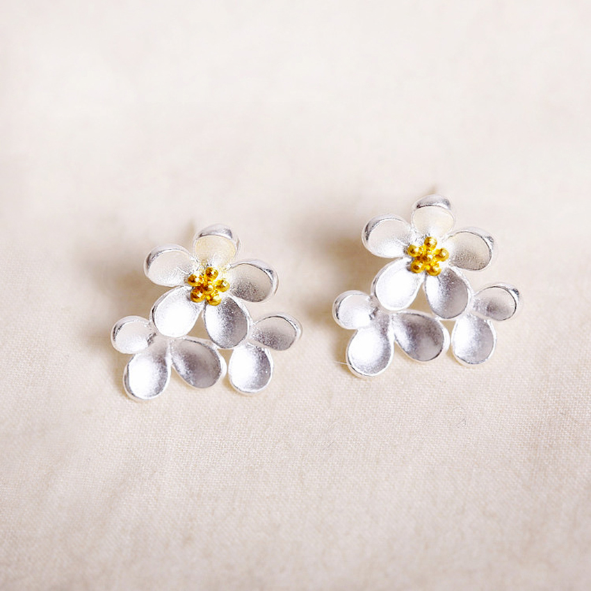 Daisies Pure 925 Sterling Silver Silver Elegant Daisy Flower Post Stud Earrings Girls Kids Christmas Gift Statement Jewelry