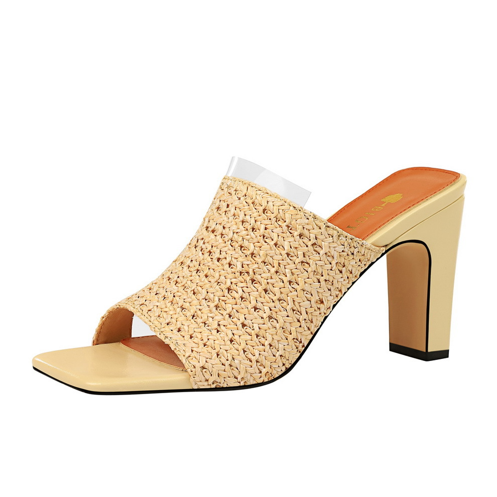 basic mules clear high heels pumps women shoes casual sandals ladies slippers Bohemia knitting square zapatos de mujer Peep Toe in Women 39 s Pumps from Shoes