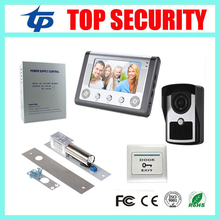 7 inch color screen video door bell video door phone access control system kit power supply+electric bolt lock+exit button