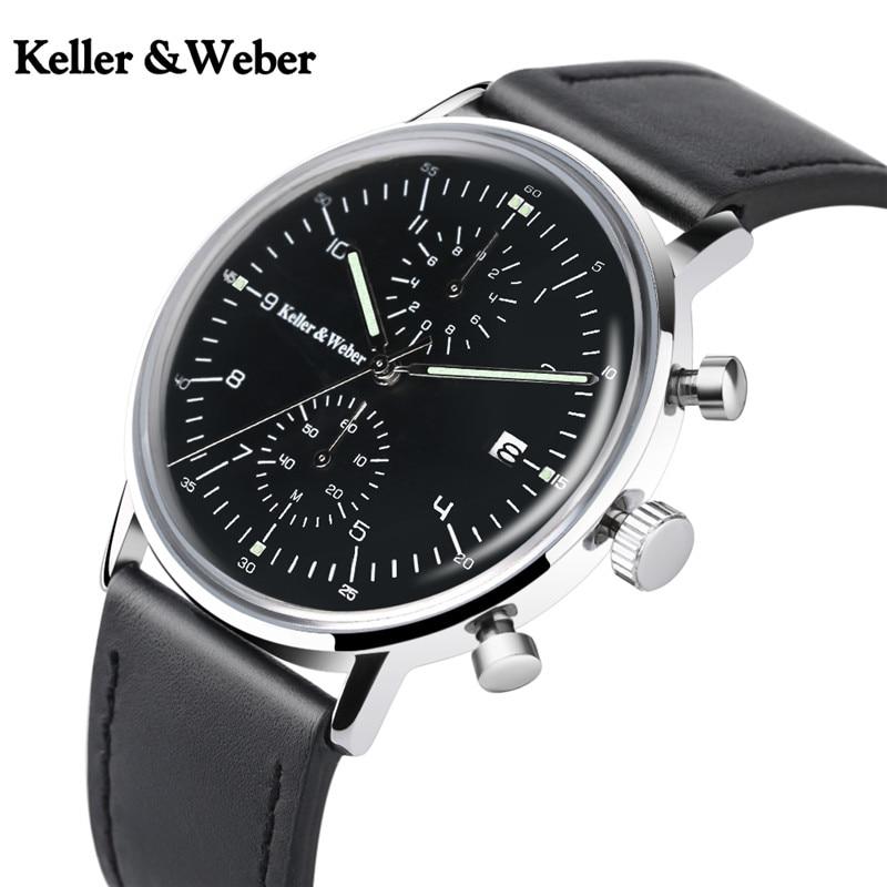 Keller & Weber Top Chronograph Sport Men Watches Day Date Fashion Waterproof Quartz Watch Casual Wristwatches Relogio Masculino keller