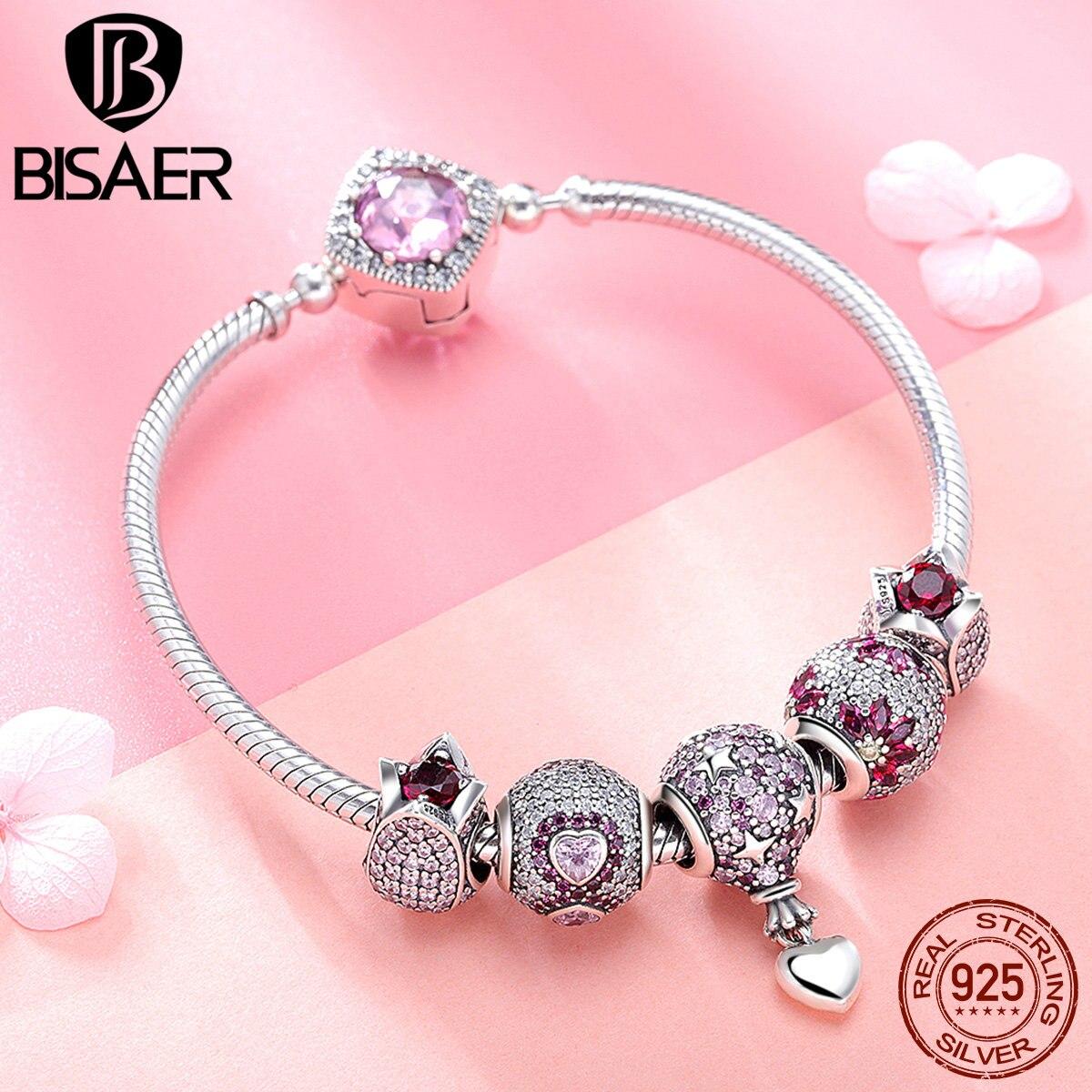 BISAER 925 Sterling Silver Pink CZ Paved Heart Flower Tulip Romantic Brand Women Silver Charm Bracelet Beads Bangle GXB803