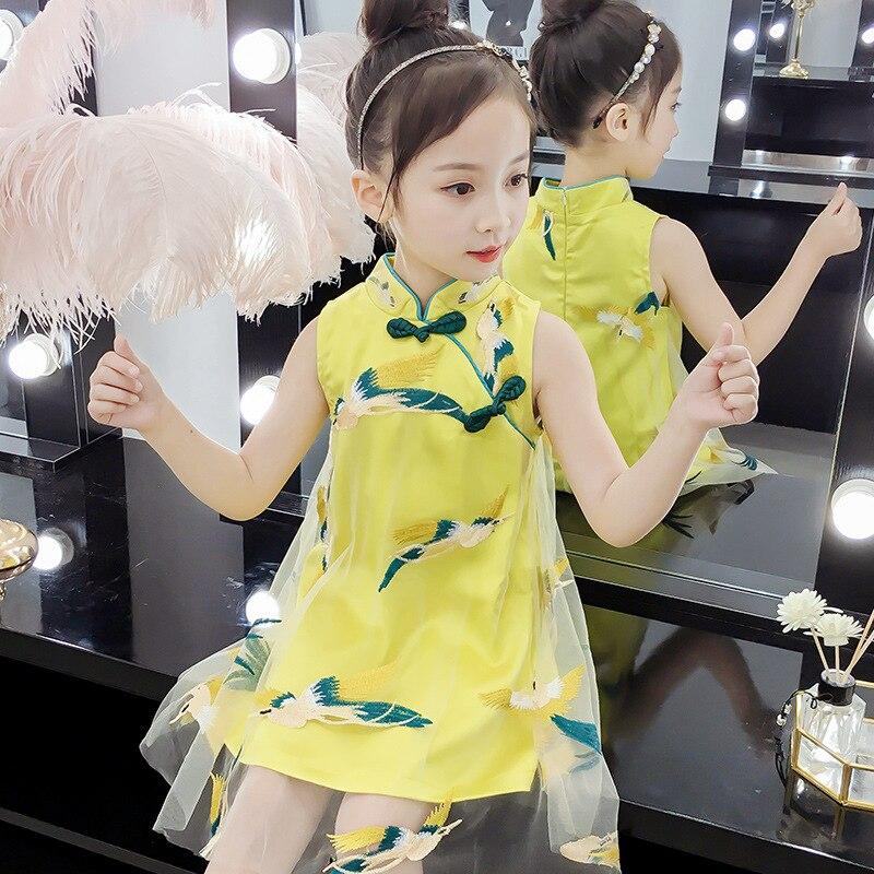 New  Girls Fairy Dress Mesh Kids Dress Traditional Chinese Cheongsam Dress Summer Sleeveless Qipao Tang Suit For Children