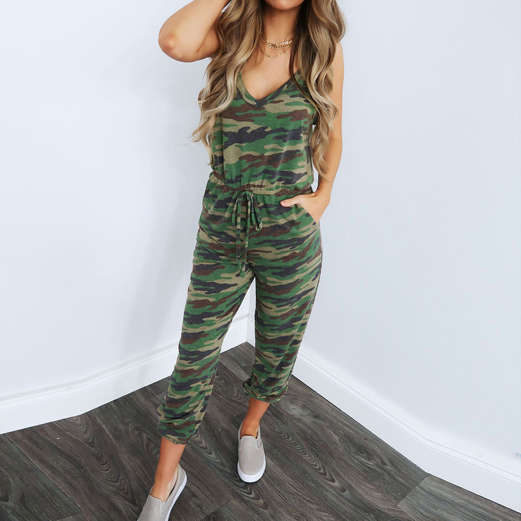 Women Summer Casual   Jumpsuit   Camouflage V Neck Ladies   Jumpsuit   Sleeveless Long Playsuit Streetwear Beach Holiday W422