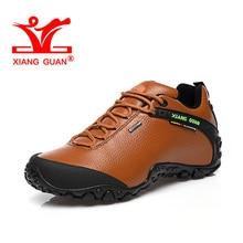 XIANGGUAN New Man Hiking Shoes Men Leather Trekking Boots Brown Sports Climbing Mountain Shoe Trend Outdoor Walking Sneakers