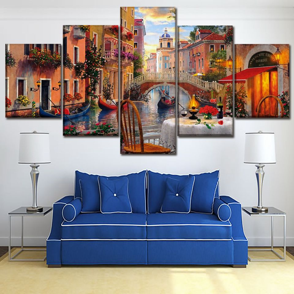 Us 10 79 40 Off Canvas Prints Painting Bedroom Wall Art 5 Pieces Venice Restaurant Pictures Modular Abstract Italy Water City Poster Home Decor In