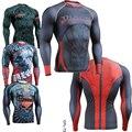 Супермен Superheros 3D Печати Высокой Упругой Спандекс Рубашки Сыпь Гвардии Технические Сжатия Рубашка Графический Плотно Топы Любовь Молодежи