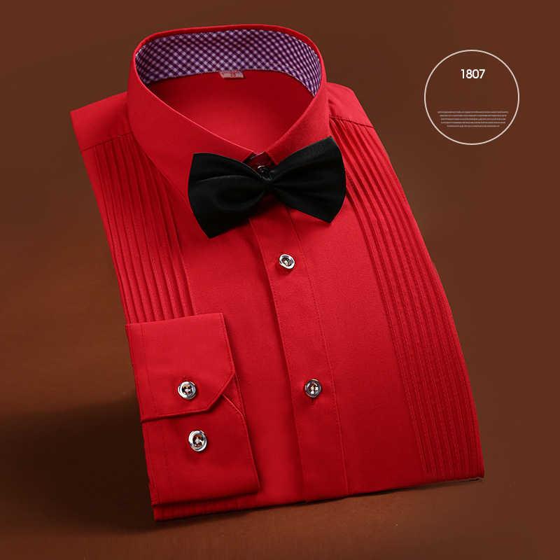 2017新しい到着の高品質ブランドメンズ服フレンチスタイルウェディングタキシードシャツメンズドレスシャツ新郎ロングスリーブシャツ