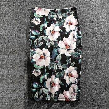 Women Skirts Summer Print Flowers Pencil Skirt Casual Skirts Knee-Length Plus Size Faldas Mujer Moda Jupe Femme 6