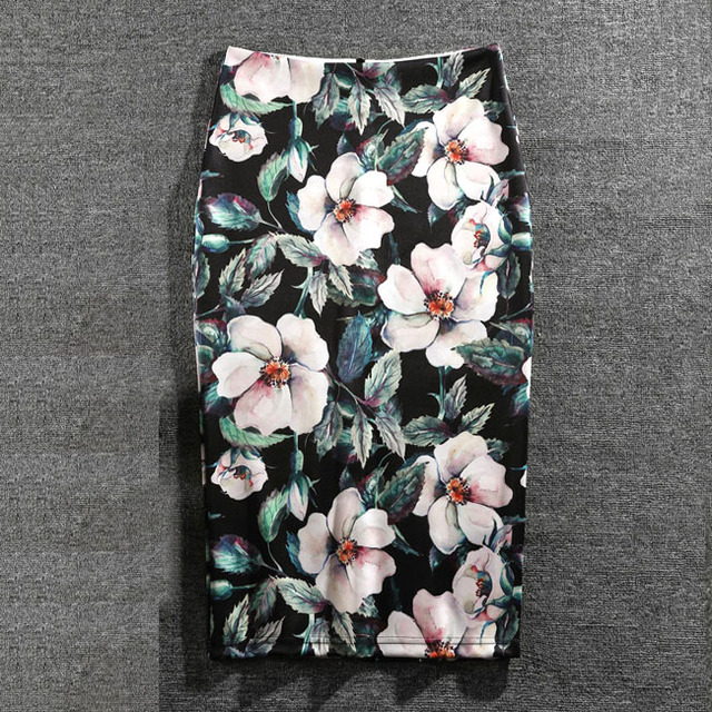 Women Skirts Summer Print Flowers Pencil Skirt Casual Skirts Knee-Length Plus Size Faldas Mujer Moda Jupe Femme 5
