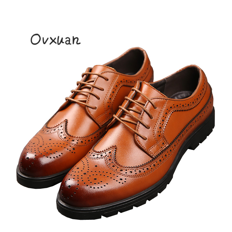 Ovxuan genuine leather wedding shoes Italian style Brogue Business Formal Dress Men Shoes Luxury Office Party Oxfords Mens Shoes men luxury crocodile style genuine leather shoes casual business office wedding dress point toe handmade brogue footwear oxfords page 4 page 5 page 1